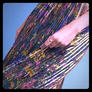 Anthropologie Printed + Pleated Metallic Skirt
